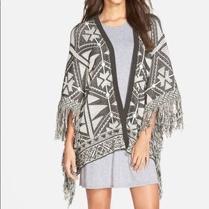 Sun and shadow white and tan fringe shawl